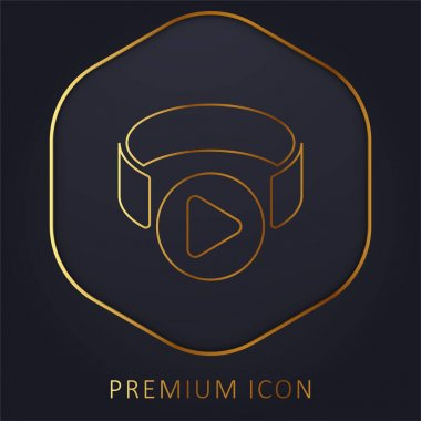 3d Viewer golden line premium logo or icon stock vector