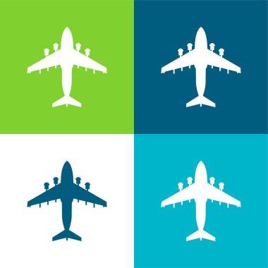 Airplane Flat four color minimal icon set