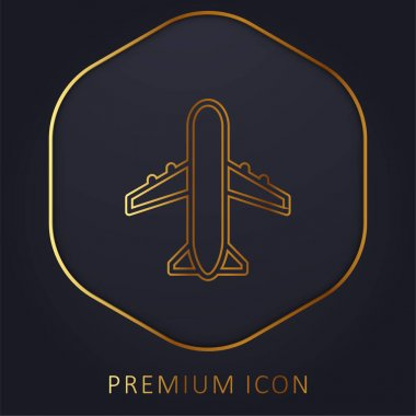 Airport Sign golden line premium logo or icon stock vector