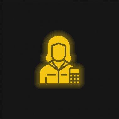Muhasebeci sarı parlak neon simgesi