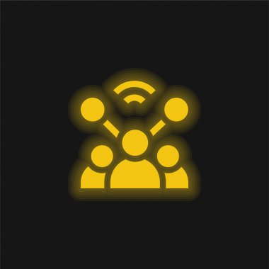 Account yellow glowing neon icon stock vector