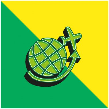 Airplane Flying Around Earth Grid Green and yellow modern 3d vector icon logo stock vector