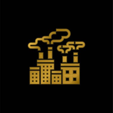 Air Pollution gold plated metalic icon or logo vector stock vector