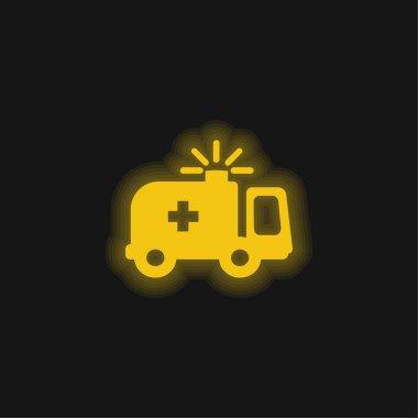 Ambulance yellow glowing neon icon