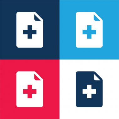 Add File blue and red four color minimal icon set stock vector