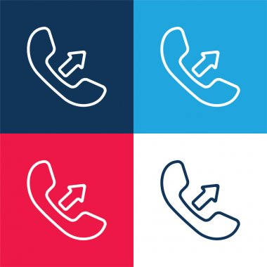 Answer A Call Interface Symbol Of Auricular With An Arrow blue and red four color minimal icon set stock vector