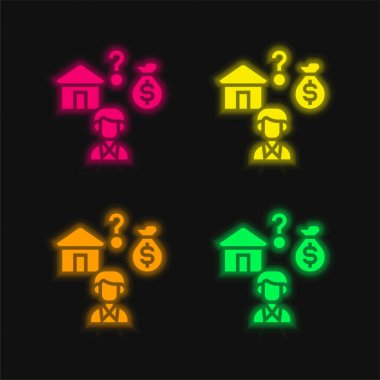 Affordable four color glowing neon vector icon stock vector