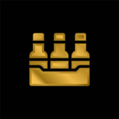 Bottles gold plated metalic icon or logo vector stock vector