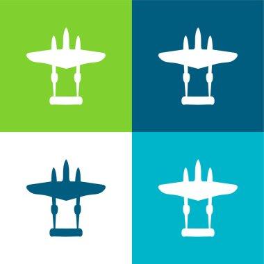 Airplane Black Shape Flat four color minimal icon set