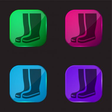 Boots four color glass button icon stock vector