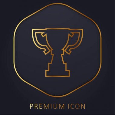 Award Trophy Cup Silhouette Of Big Size golden line premium logo or icon stock vector