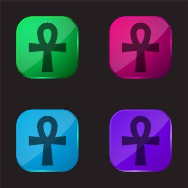 Ankh dört renkli cam düğme simgesi