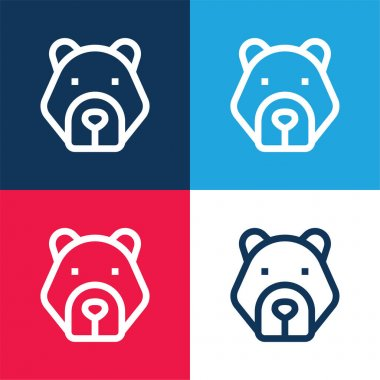 Bear blue and red four color minimal icon set stock vector