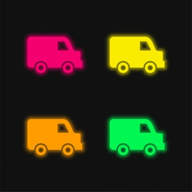 Black Delivery Small Truck Side View four color glowing neon vector icon stock vector