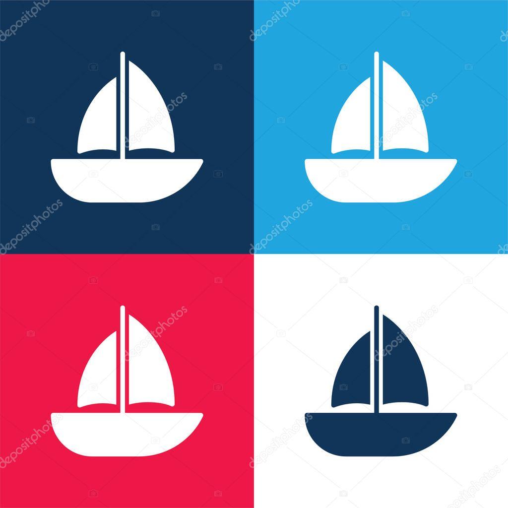 Barca blu e rosso quattro colori set icona minima