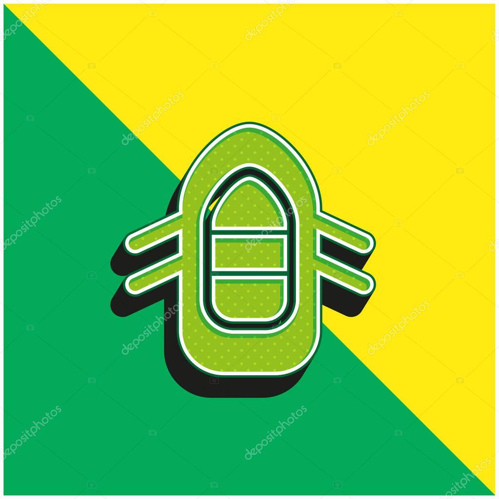 Boiting Logo icona vettoriale 3d moderna verde e gialla