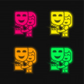 Herecká čtyřbarevná zářící neonová ikona