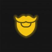 Szakáll sárga izzó neon ikon