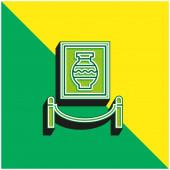 Art Zöld és sárga modern 3D vektor ikon logó