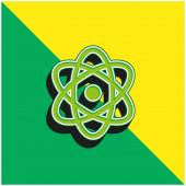 Atom Grünes und gelbes modernes 3D-Vektor-Symbol-Logo