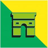 Arc De Triomphe Zelené a žluté moderní 3D vektorové logo