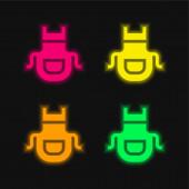 Zástěra čtyři barvy zářící neonový vektor ikona