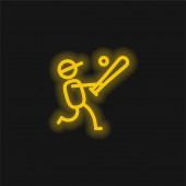 Baseballspieler gelbe leuchtende Neon-Ikone