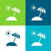 Beach Flat Minimal Icon Set mit vier Farben