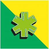 Rettungswagen Grünes und gelbes modernes 3D-Vektor-Symbol-Logo