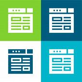Blogging Flat four color minimal icon set
