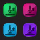 Aufsteigende Rakete vierfarbige Glasknopf-Symbol