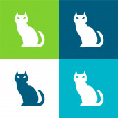Black Evil Cat Flat čtyři barvy minimální ikona sada