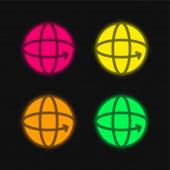 360 négy szín izzó neon vektor ikon