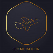 Flugzeug goldene Linie Premium-Logo oder Symbol
