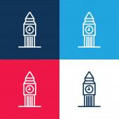 Big Ben kék és piros négy szín minimális ikon készlet