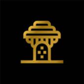 Baobab vergoldet metallisches Symbol oder Logo-Vektor
