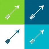 Nyíl lapos négy szín minimális ikon készlet