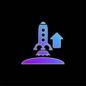 Aufsteigende Rakete blauer Gradienten-Vektor-Symbol