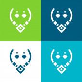 Aztec nyaklánc Lapos négy szín minimális ikon készlet