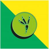 Madár lábnyom a körön Zöld és sárga modern 3D vektor ikon logó