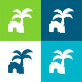 Beach House Byt čtyři barvy minimální ikona nastavena