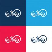 Asymetrický květinový design spirály modrá a červená čtyři barvy minimální ikona sada