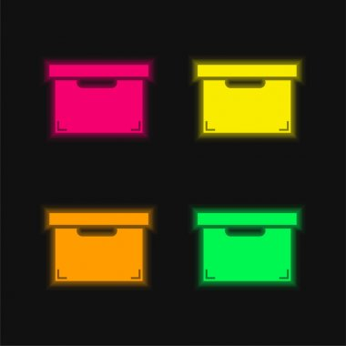 Black Box For Storage And Organization Of Things four color glowing neon vector icon stock vector