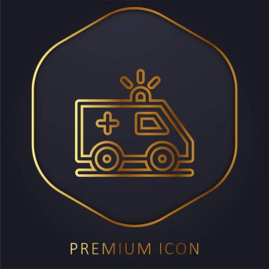 Ambulance golden line premium logo or icon stock vector