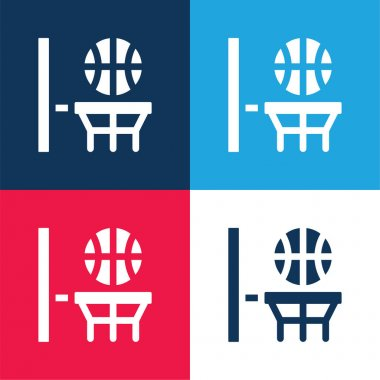 Basketball blue and red four color minimal icon set stock vector