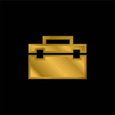 Black Portfolio gold plated metalic icon or logo vector