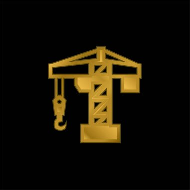 Architecture Crane Tool gold plated metalic icon or logo vector stock vector