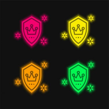 Badge four color glowing neon vector icon stock vector