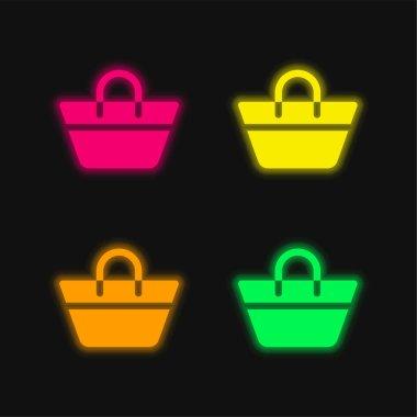 Beach Bag four color glowing neon vector icon stock vector
