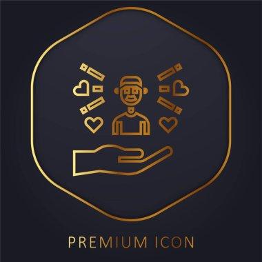 Boy golden line premium logo or icon stock vector